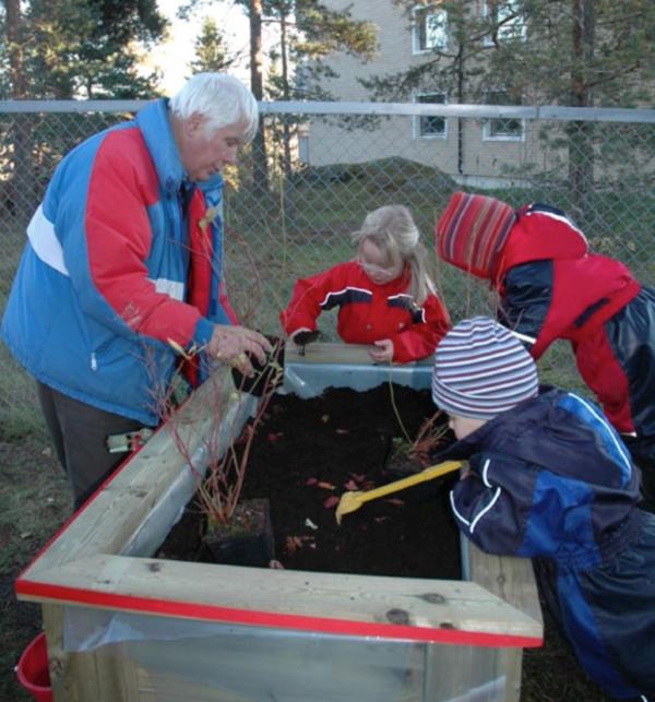 Voksne og barn lager plantekasse til bærbusker.
