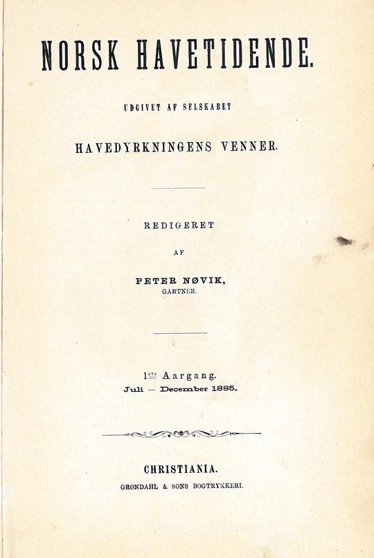 Bladet Norsk Havetidende sin forside fra 1885