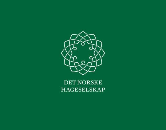 Hageselskapets logo på grønn bakgrunn