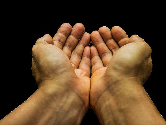 Illustrasjonsbilde av to hender som holdes ut, ber om penger