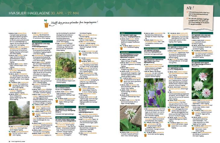 Oppslag fra Hagtidend viser hagelagenes kalender.