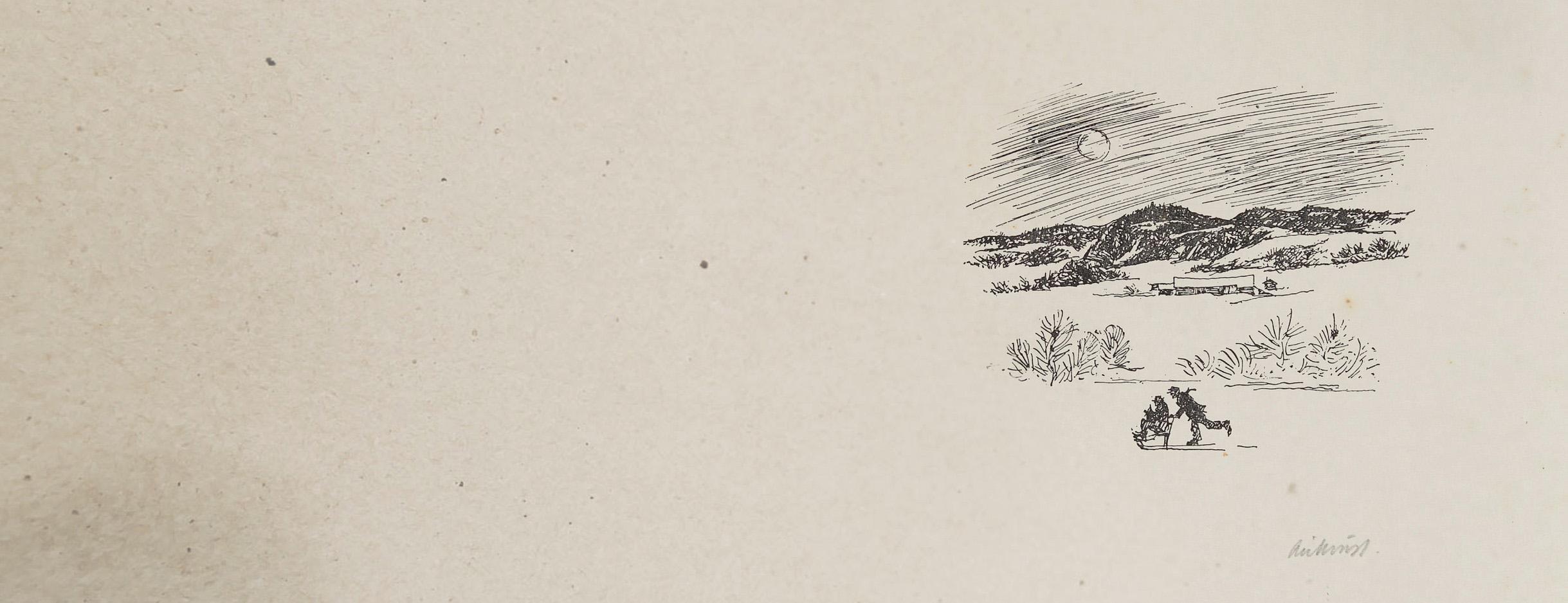 Tegning av Kjell Aukrust , sparktur på Glomma