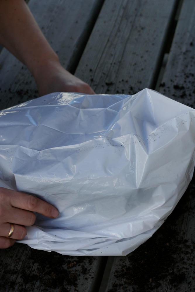 Pottene dekkes med plast
